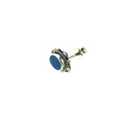 Zilveren oorstekers turkoois versierd