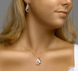 zilveren set collier met oorbellen druppel