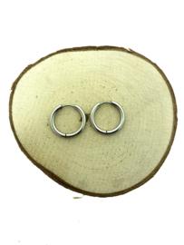Edelstalen klapcreolen zilver 21 mm