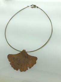 Ginkgo collier bronskleur groot