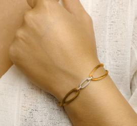 Armband satijn caramel