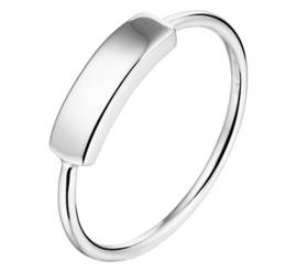 Zilveren ring met balkje