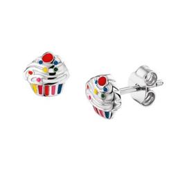 Zilveren oorstekers cupcake gekleurd