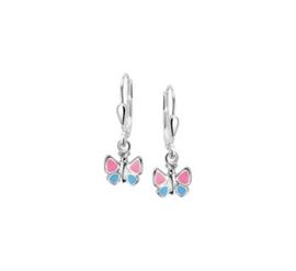 Zilveren oorhangers vlinder blauw/roze