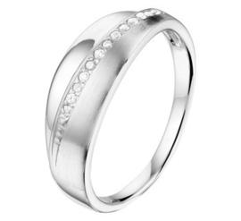 Zilveren ring poli/mat zirkonia