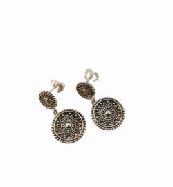 Zilveren oorhangers rondjes versiering