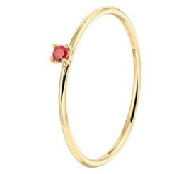 Gouden aanschuifring rode zirkonia