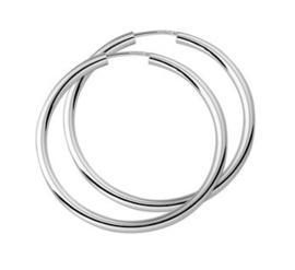 Zilveren dikke oorringen 38 mm
