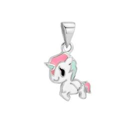Zilveren kinder ketting hanger eenhoorn
