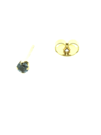 Zweerknopjes goud met blauw steentje