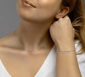 zilveren set collier en armband met hartjes