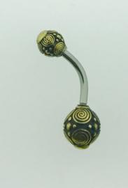 Goudkleurige navelpiercing dubbele bol met spiralen