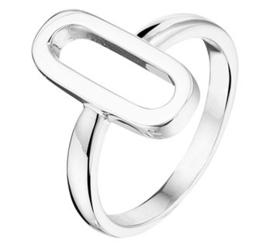 Zilveren ring ovaal lang open