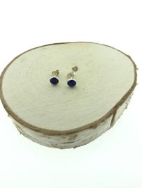 Zilveren oorstekers lapis lazuli rond