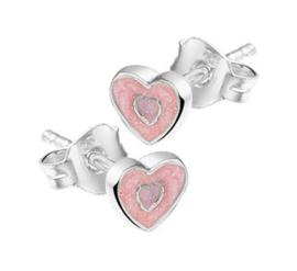 Zilveren oorstekers roze hart