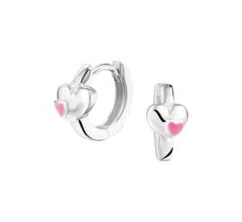 Zilveren klapcreolen hartjes