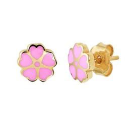 Gouden oorstekers roze bloem