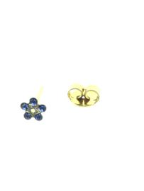 Zweerknopjes goud bloemetje blauw