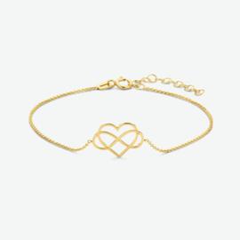 Gouden armband infinity en hart