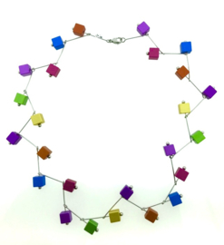 Handgemaakte multicolor collier vierkant