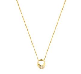 Gouden collier ovaal zirkonia