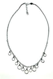 Zilveren collier met strass schijfjes