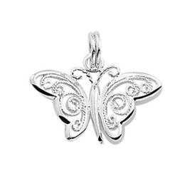 Zilveren kettinghanger vlinder sierlijk