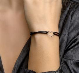 Armband satijn hartje