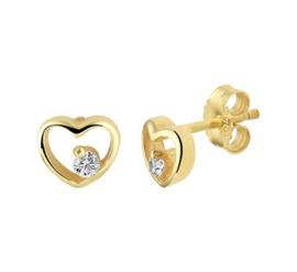 Gouden oorknopjes hartje met steen