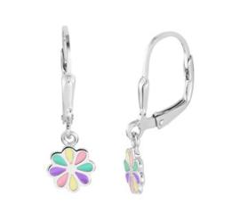 Zilveren oorhangers met bloem pastel