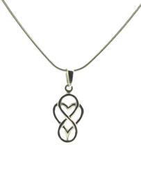 Zilveren collier hart/infinity