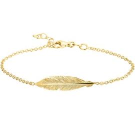 Goud op zilveren armband veer