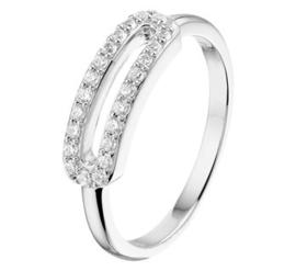 Zilveren ring rij zirkonia ovaal lang