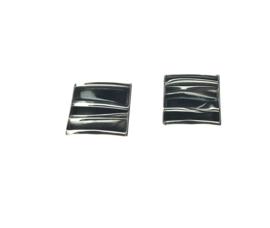 Zilveren oorstekers golfjes vierkant