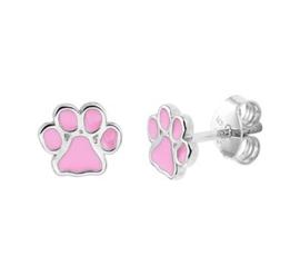 Zilveren oorstekers roze hondenpoot