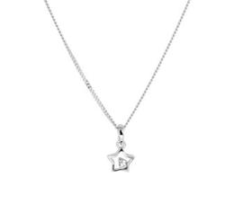 Zilveren set:ketting en oorknopjes met ster en zirkonia