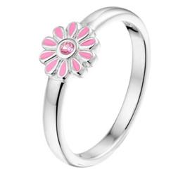 Zilveren kinderring bloem zirkonia roze