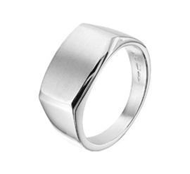 Zilveren ring dwarsmodel poli/mat