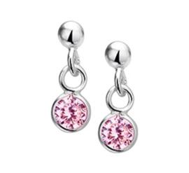 Zilveren oorhangers roze zirkonia