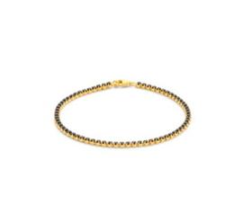 Goud op zilveren armband zwarte zirkonia