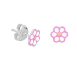 Zilveren oorstekers bloem roze