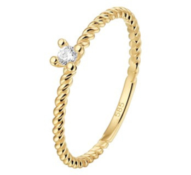 Gouden ring gedraaid zirkonia zetting