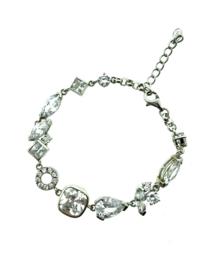 Zilveren armband met bedels en zirkonia stenen