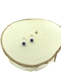 Zilveren oorstekers lapis lazuli versierd