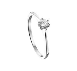 Witgouden ring witte steen