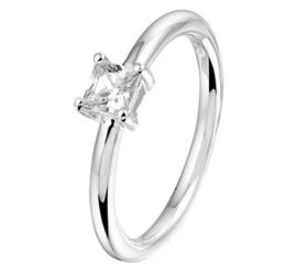 Zilveren ring zirkonia vierkant chaton