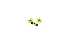 Edelstalen zweerknopjes blauwe steen goud-kleur 'groot'