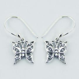 zilveren oorhangers: vlinder