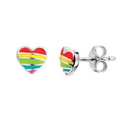 Zilveren oorstekers hart regenboog