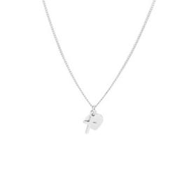 zilveren set collier en oorbellen met hartje en kruis